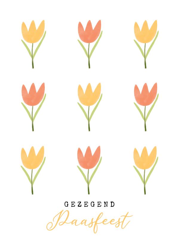 Paaskaarten - Christelijke paaskaart tulpen geel oranje gezegend pasen