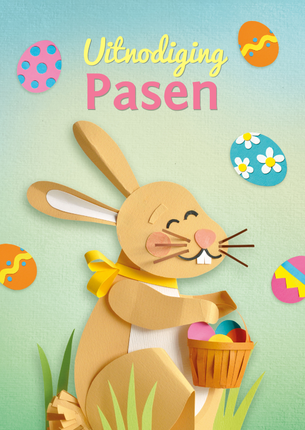 Paaskaarten - Paas uitnodiging haas met eitjes