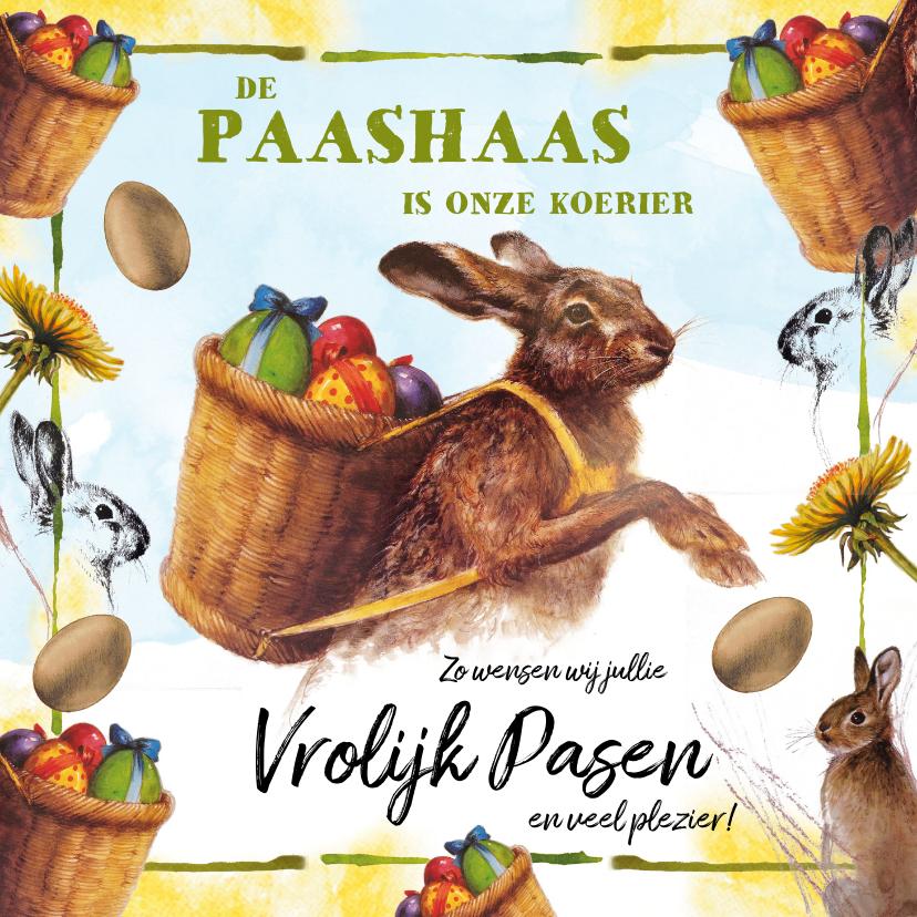 Paaskaarten - Paashaas met eieren in mand op zijn rug is de koerier