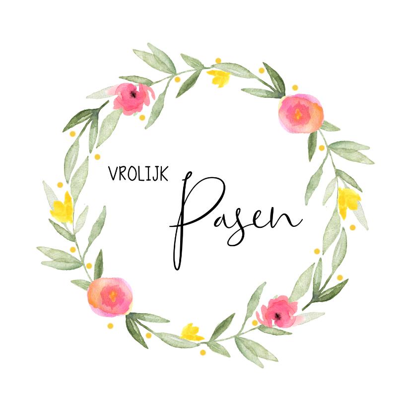 Paaskaarten - Paaskaart bloemenkrans