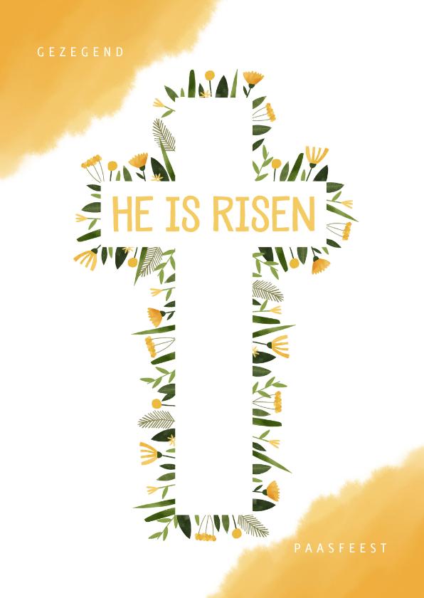 Paaskaarten - Paaskaart christelijk bloemen in kruis en gele waterverf