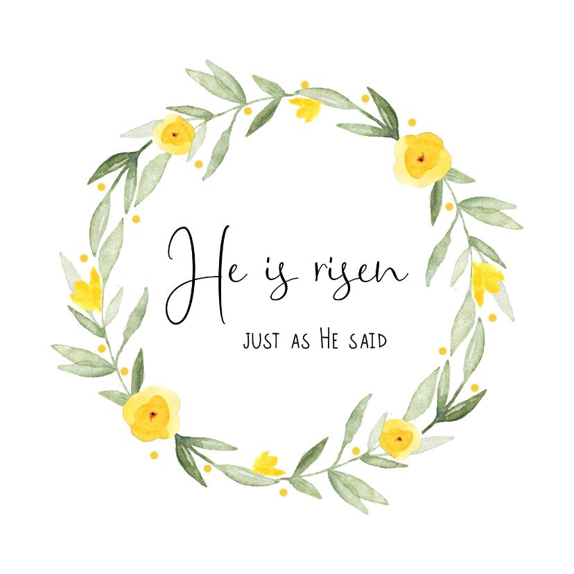 Paaskaarten - Paaskaart christelijke quote met voorjaarskrans