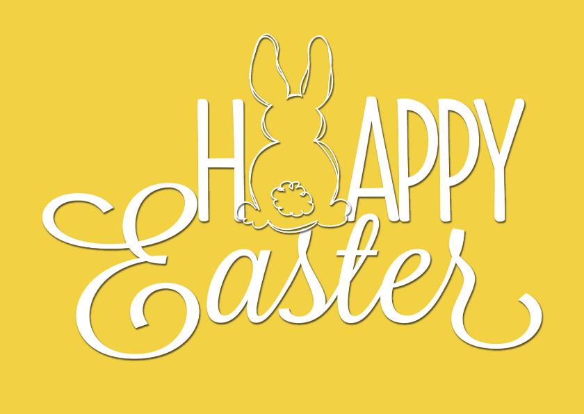 Paaskaarten - Paaskaart Happy Easter geel