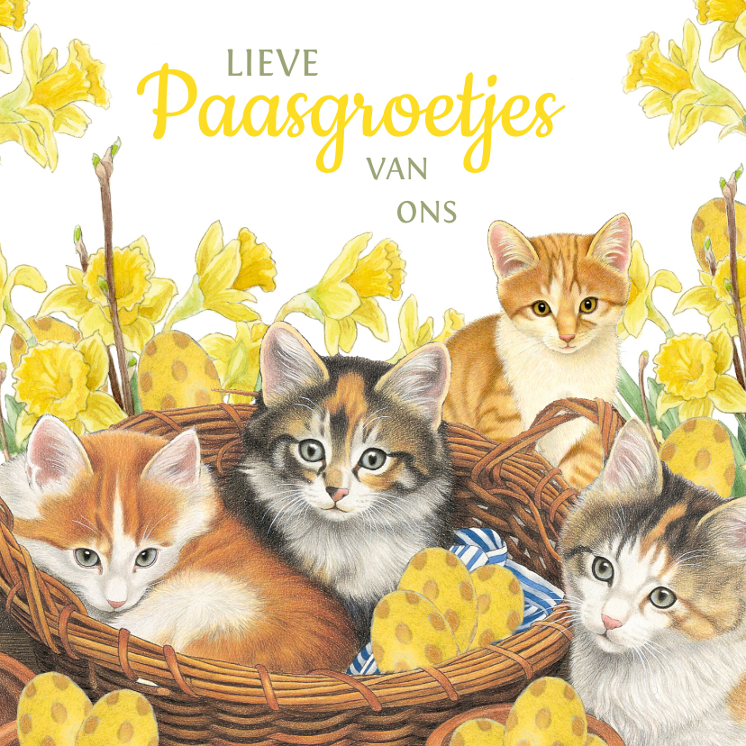 Paaskaarten - Paaskaart Kittens in het eiermandje