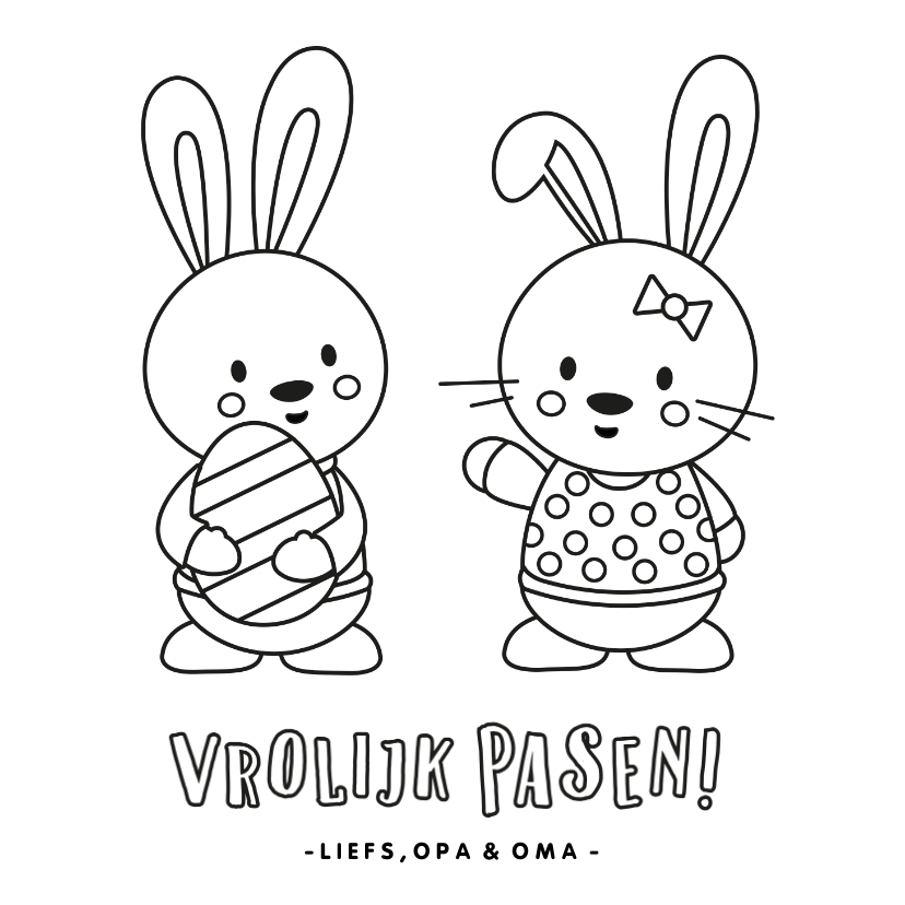 Paaskaarten - Paaskaart kleurplaat voor kinderen met konijntjes