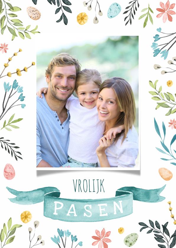 Paaskaarten - Paaskaart lente vrolijk eieren foto vaandel waterverf