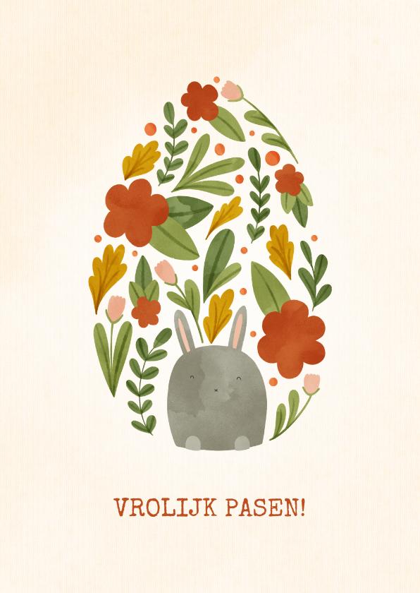 Paaskaarten - Paaskaart met bloemen en haasje in eivorm