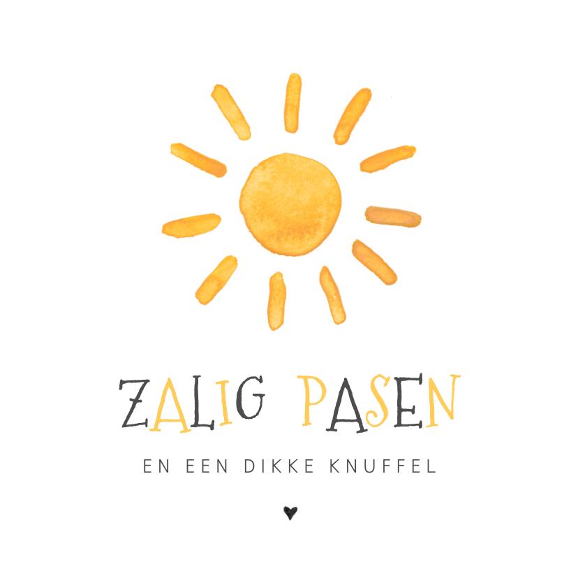 Paaskaarten - Paaskaart met een zon en zalig pasen