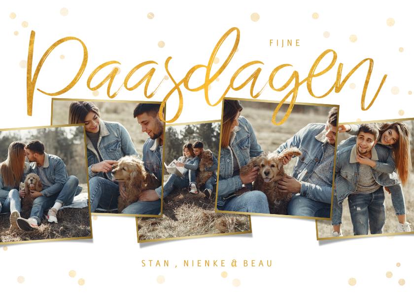 Paaskaarten - Paaskaart met gouden confetti en fotocollage