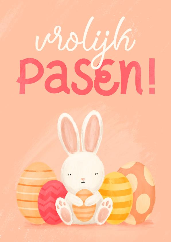 Paaskaarten - Paaskaart met konijntje en paaseieren vrolijk pasen