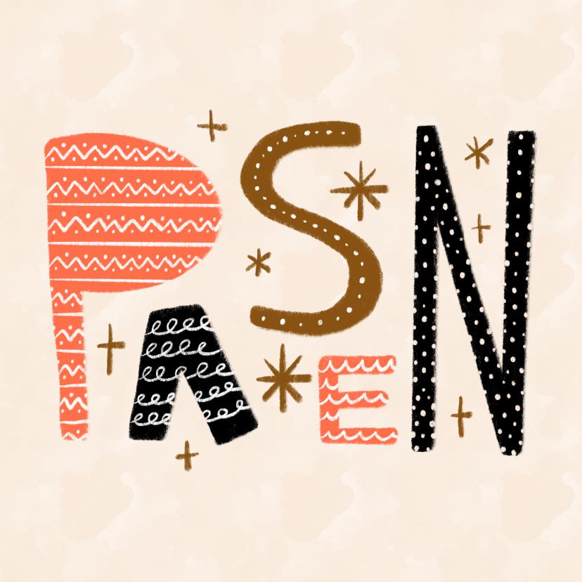 Paaskaarten - Paaskaart met vrolijke versierde letters