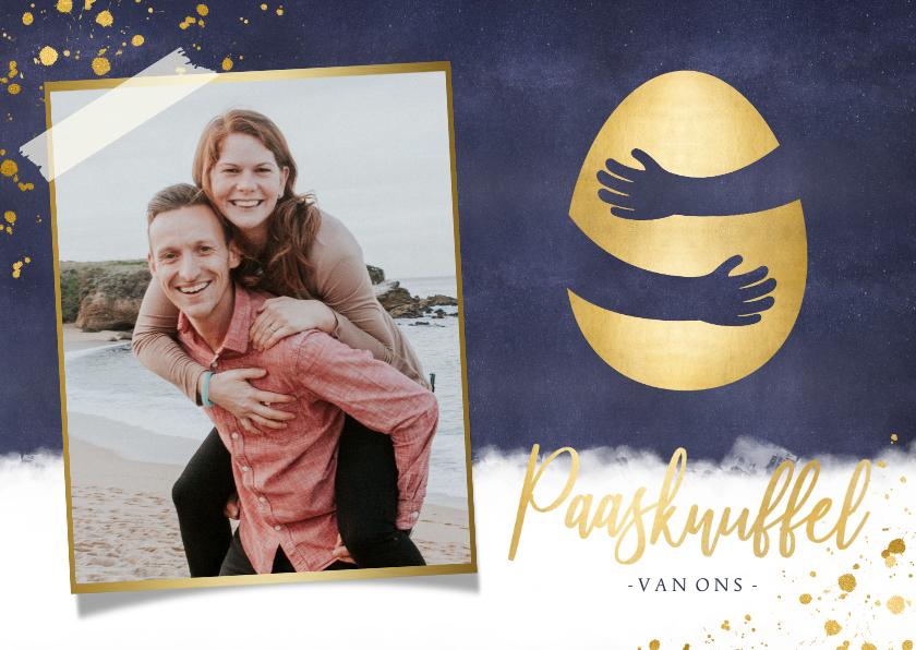 Paaskaarten - Paaskaart paasknuffel met gouden ei en eigen foto