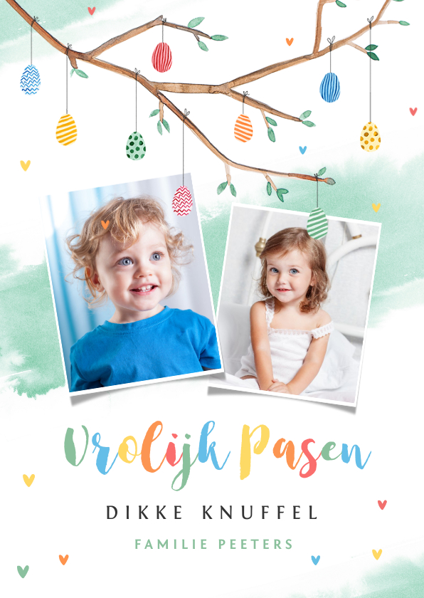 Paaskaarten - Paaskaart paastak vrolijk pasen beschilderde eieren foto's