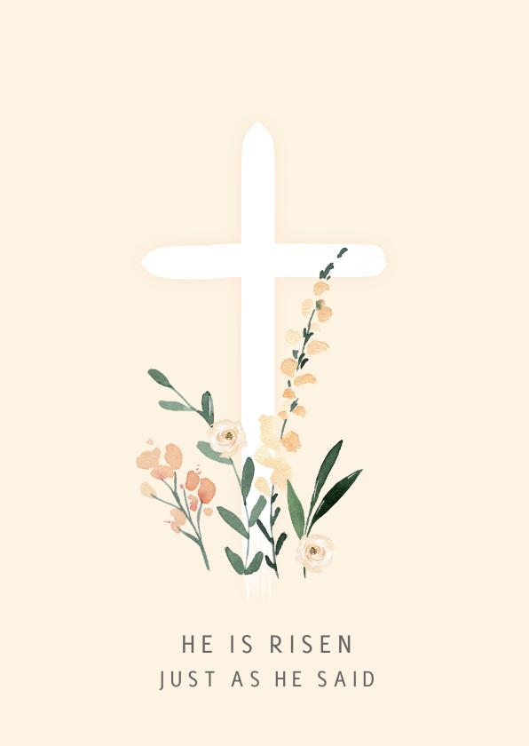 Paaskaarten - Paaskaart pastel kruis