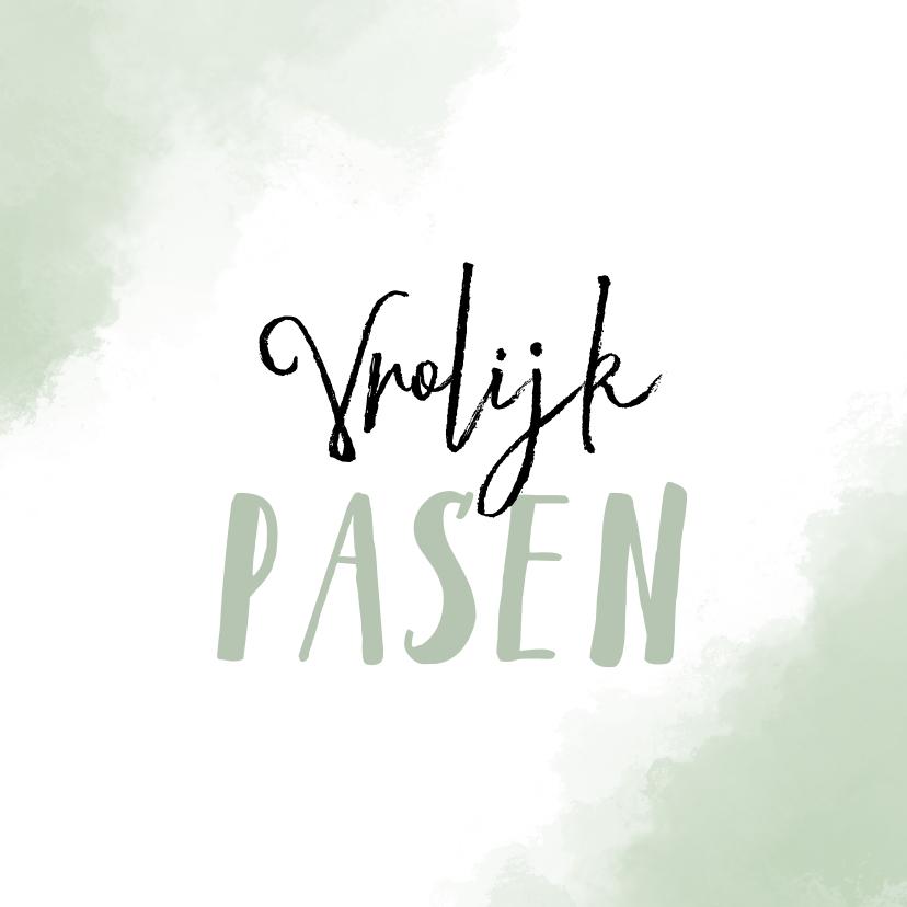 Paaskaarten - Paaskaart Vrolijk Pasen met mint-groene achtergrond