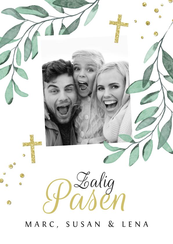 Paaskaarten - Paaskaartje christelijk kruis stijlvol bladeren foto