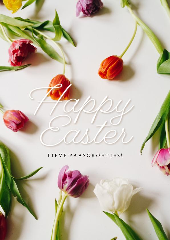 Paaskaarten - Paaskaartje Happy Easter kleurrijke tulpen