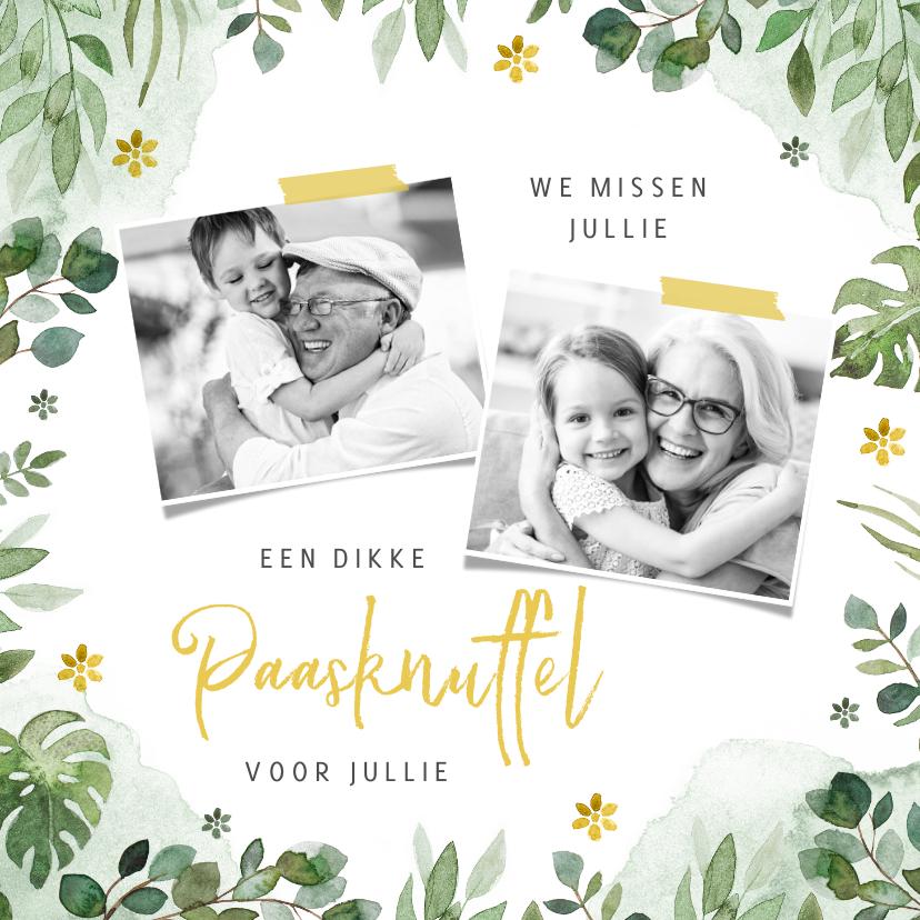 Paaskaarten - Paaskaartje paasknuffel lente bloemen foto's opa oma