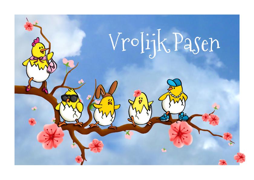 Paaskaarten - Pasen Kekke Kuikens op bloesemtak