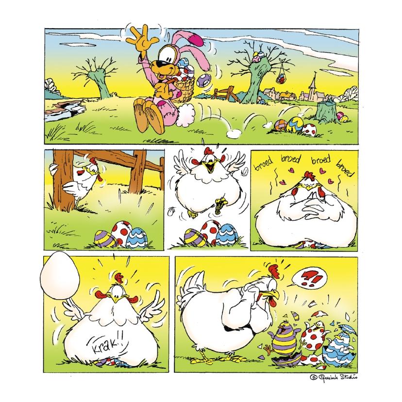 Paaskaarten - Pasen Loeki strip kip