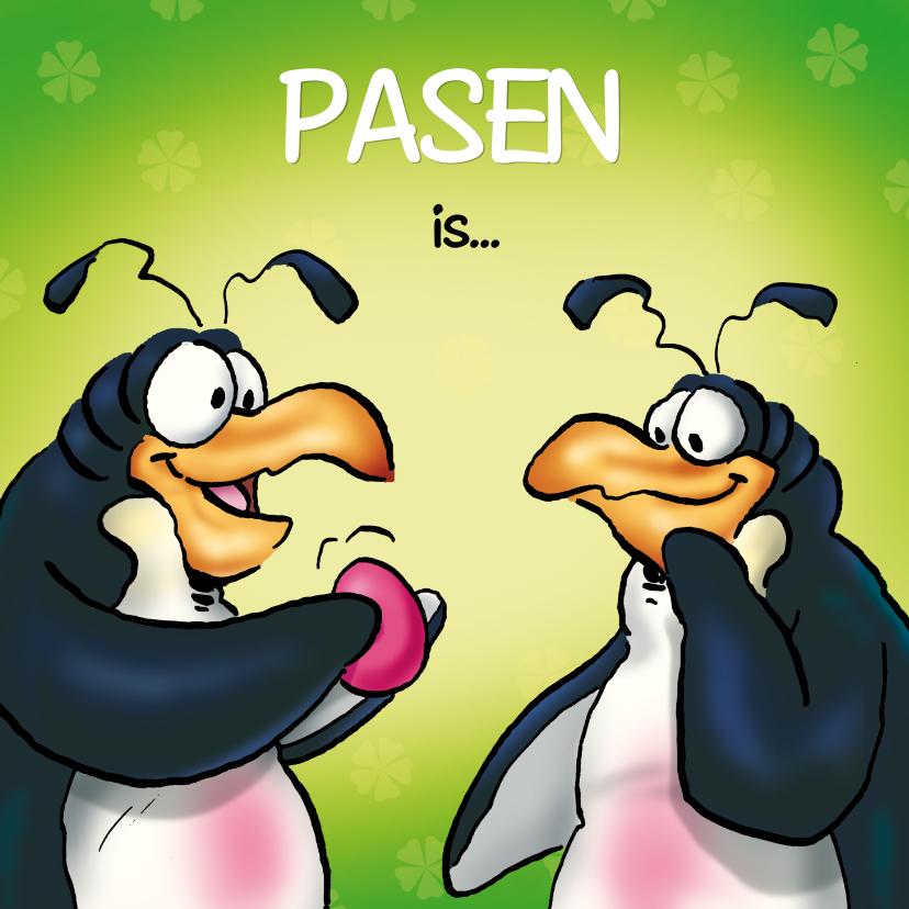 Paaskaarten - pinguins pasen 2 pinguin rose ei