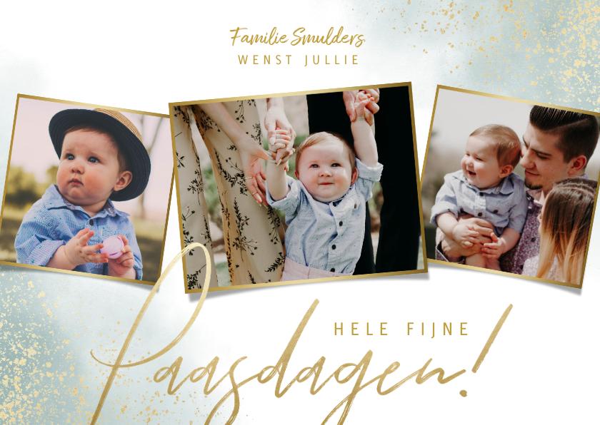 Paaskaarten - Stijlvolle paaskaart fijne paasdagen met 3 grote foto's