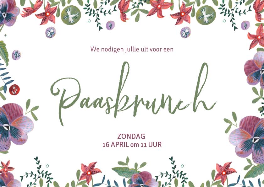 Paaskaarten - Uitnodiging voor een paasbrunch met Pasen