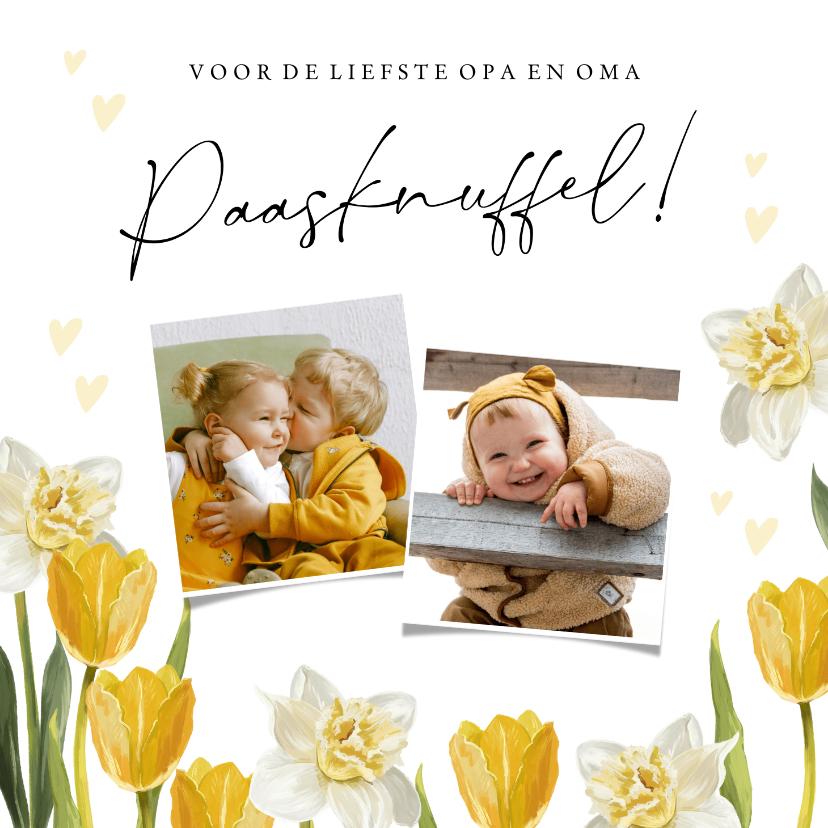 Paaskaarten - Vrolijk paaskaart met voorjaarsbloemen en foto's