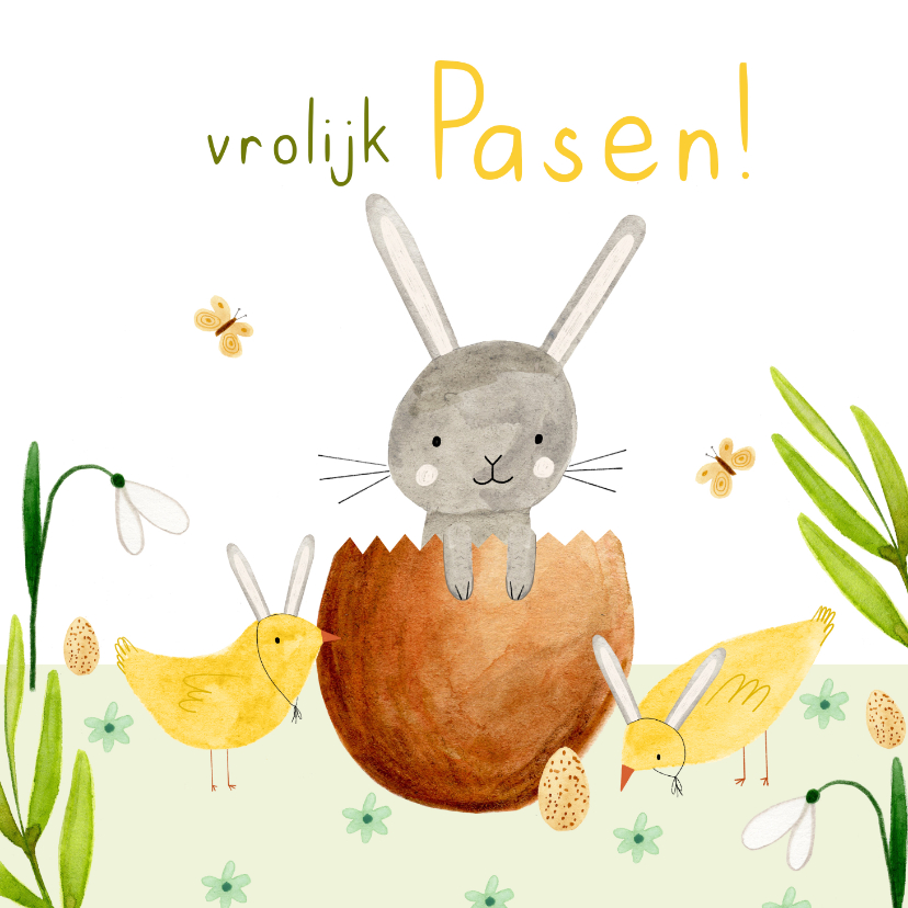 Paaskaarten - Vrolijk paaskaartje eieren kuiken konijn bloemen groen geel