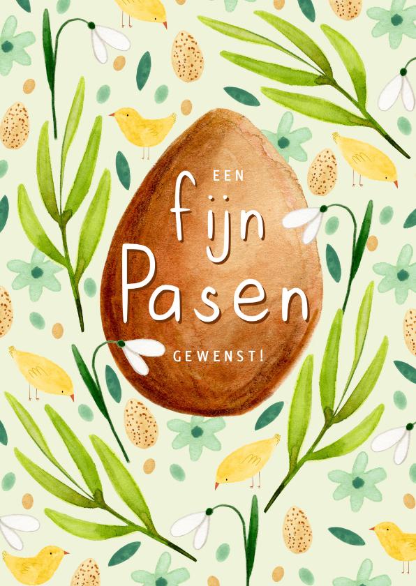 Paaskaarten - Vrolijk paaskaartje fijn pasen eieren lente kuikens bloemen