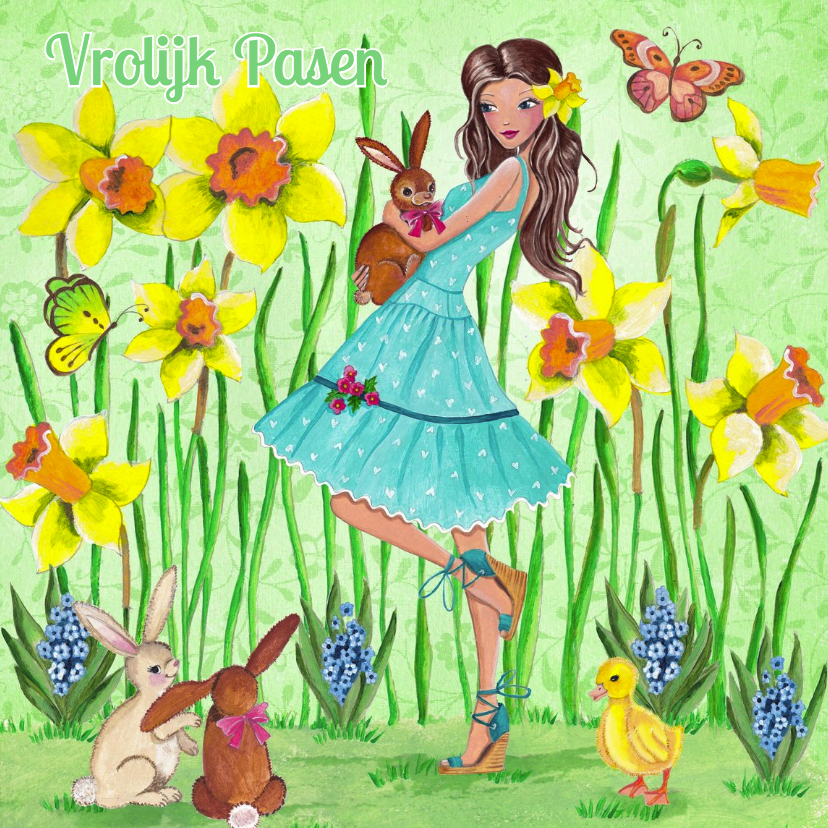 Paaskaarten - Vrolijk Pasen Meisje Narcissen