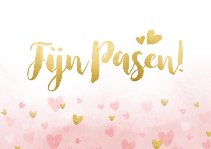 Paaskaarten - Vrolijke paaskaart met gouden hartjes en roze waterverf