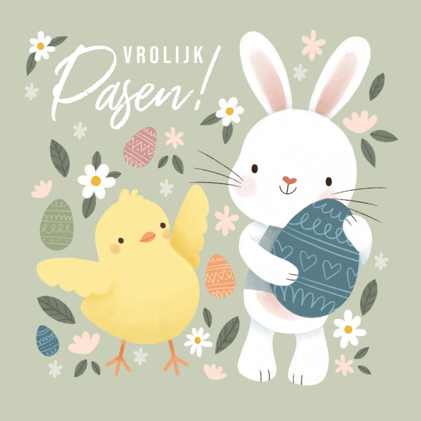 Paaskaarten - Vrolijke paaskaart met kuikentje, paashaasje en eieren