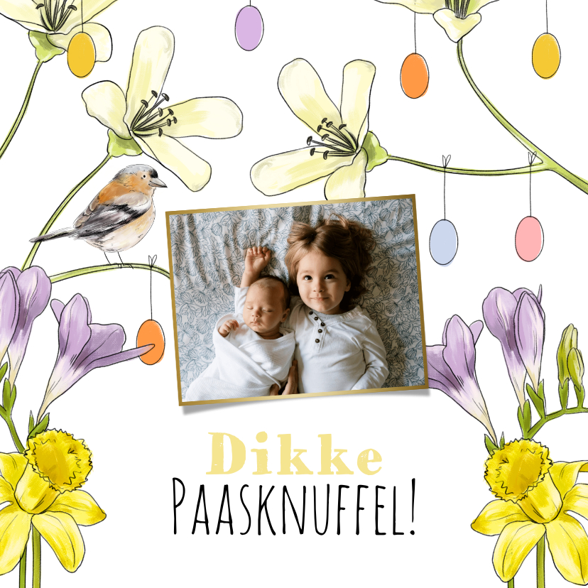 Paaskaarten - Vrolijke paaskaart met voorjaarsbloemen, vogeltje en foto