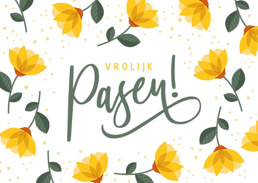 Paaskaarten - Vrolijke strakke paaskaart met gele bloemen en vrolijk pasen