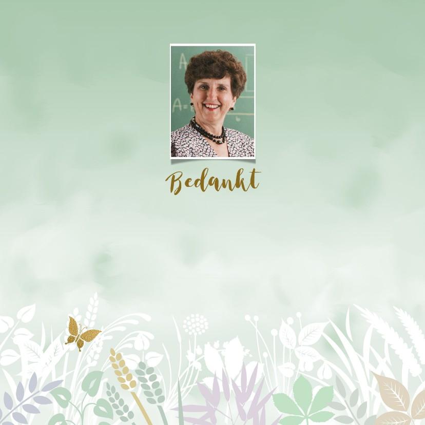 Rouwkaarten - Bedankkaart met foto en gewassen ondergrond met blaadjes