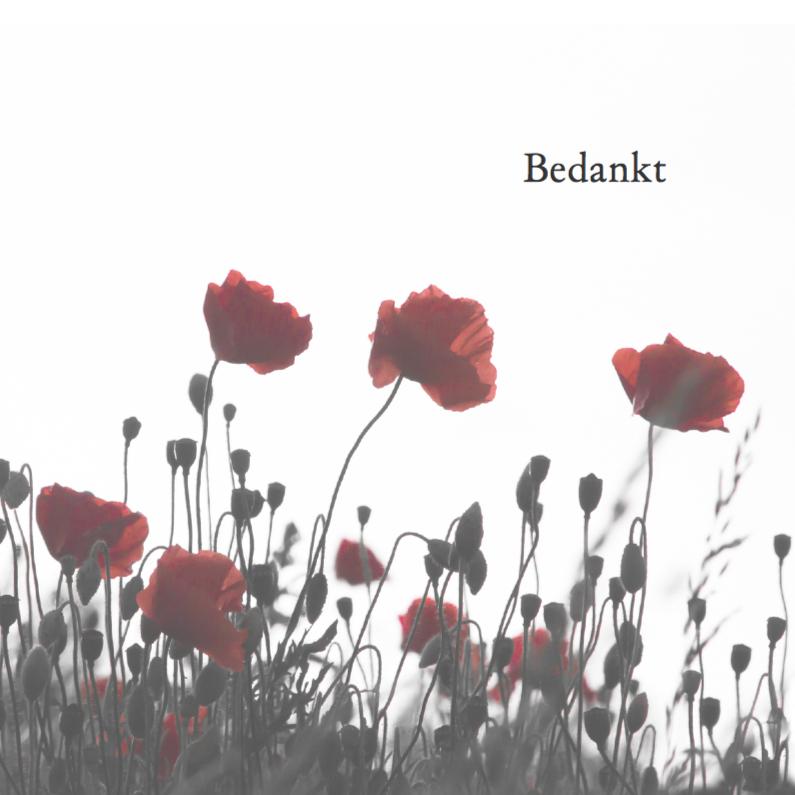 Rouwkaarten - Bedankkaart na overlijden-papaver kleur