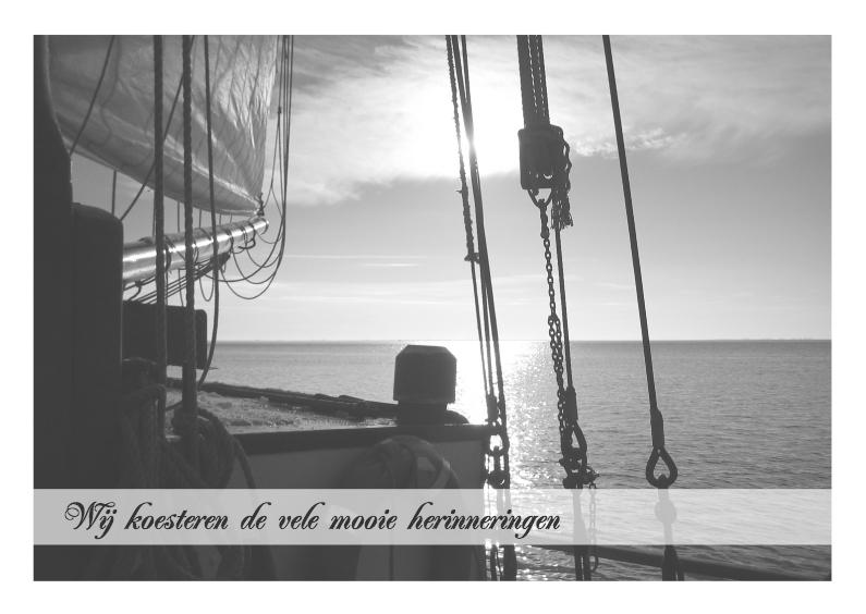 Rouwkaarten - Boot met zonsondergang op rustig water 2