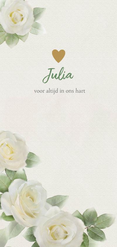 Rouwkaarten - Lieve rouwkaart met witte rozen op gewassen achtergrond