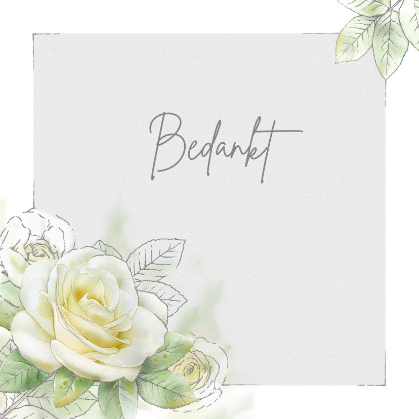 Rouwkaarten - Mooie bedankkaart met een witte roos met zilverlijn
