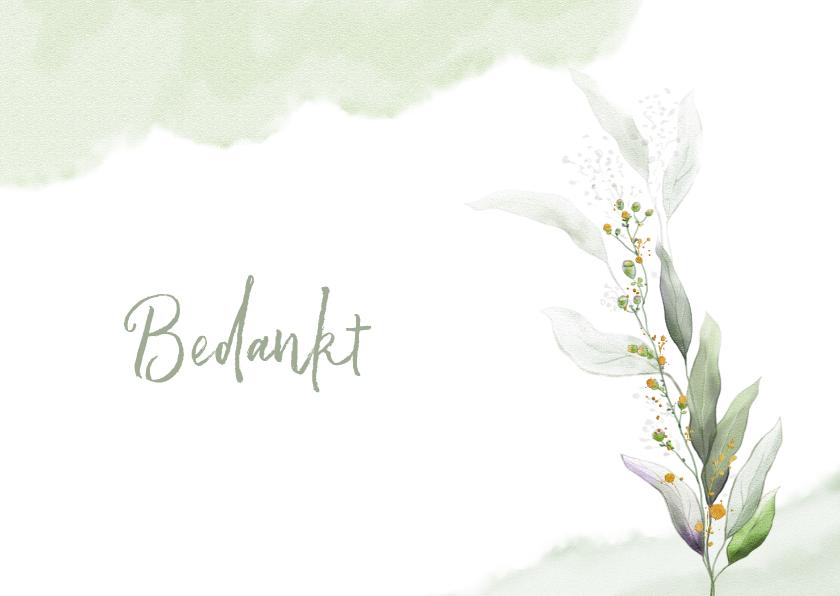 Rouwkaarten - Mooie bedankkaart met takjes en blaadjes in waterverf