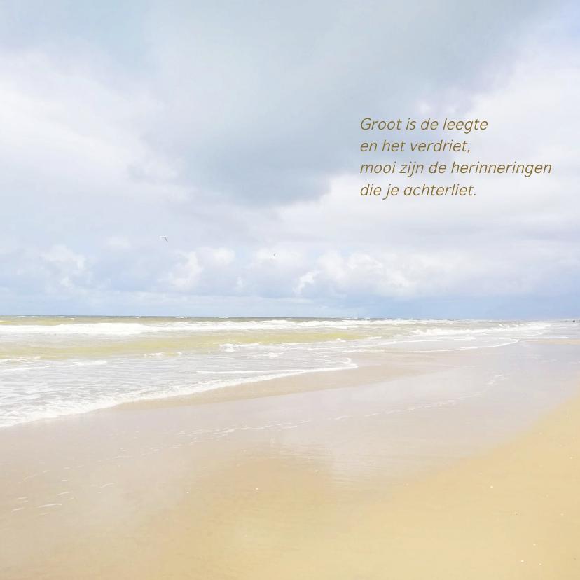 Rouwkaarten - Mooie rouw- of bedankkaart met strand, lucht en zee