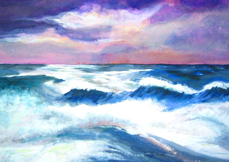 Rouwkaarten - Mooie rouwkaart met zee, zon, wind, water en wolken