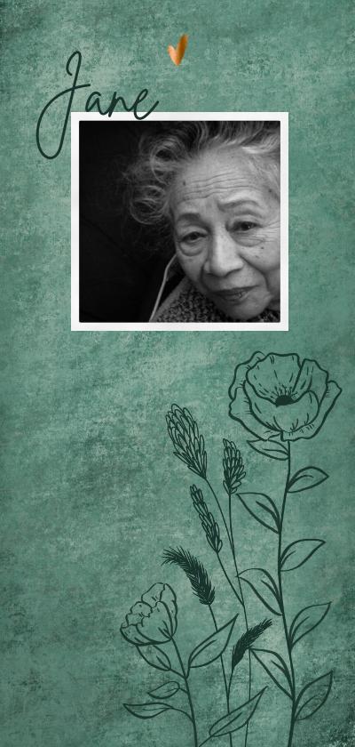 Rouwkaarten - Naturel rouwkaart met wilde bloemen en bronzen hartjes
