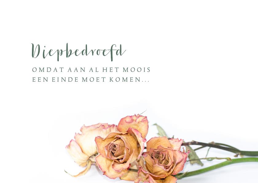 Rouwkaarten - Rouw Gedroogde rozen liggend