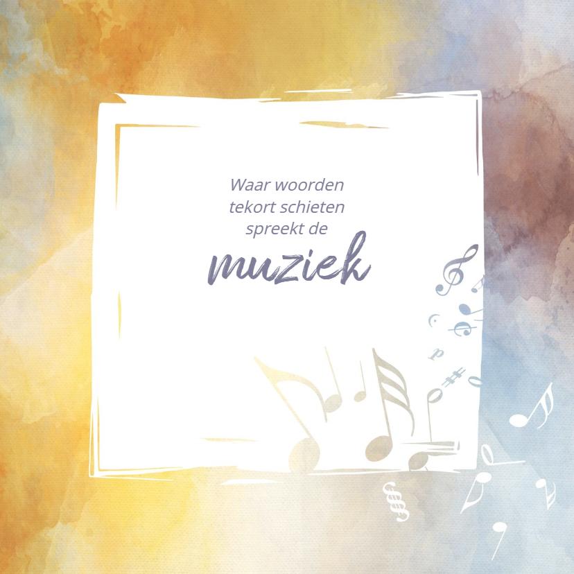 Rouwkaarten - Rouw hobby muziek met muzieknoten  in aquarel kader