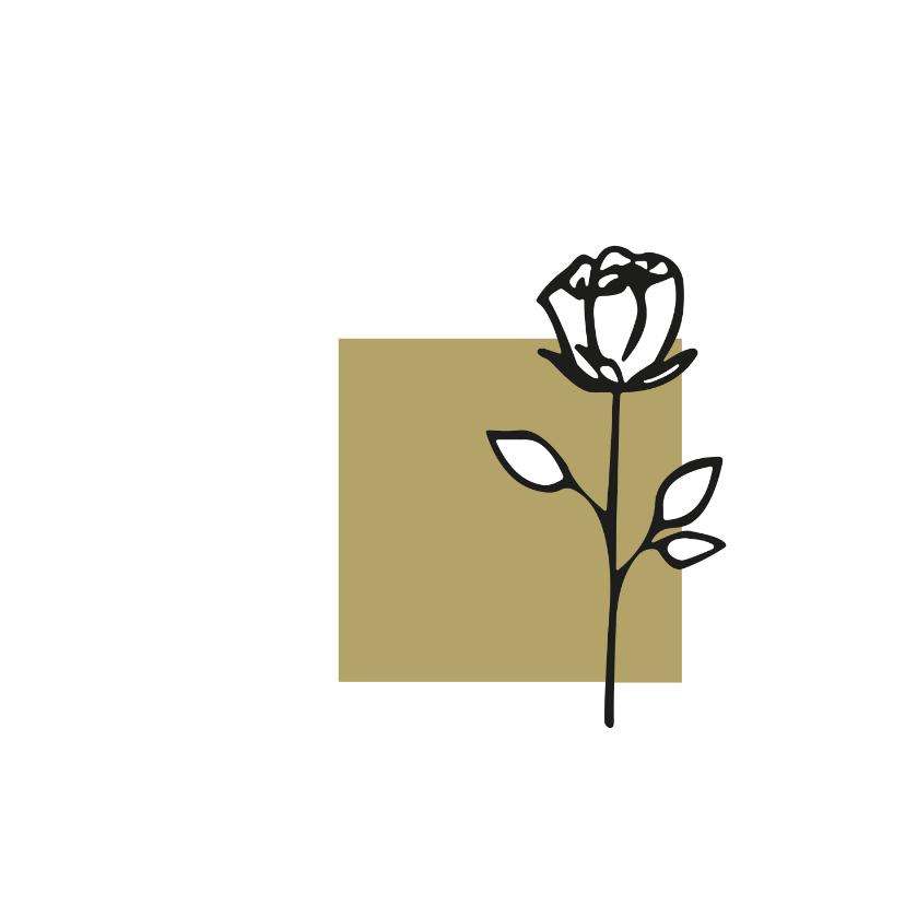 Rouwkaarten - Rouw roos zwart wit goudbruin