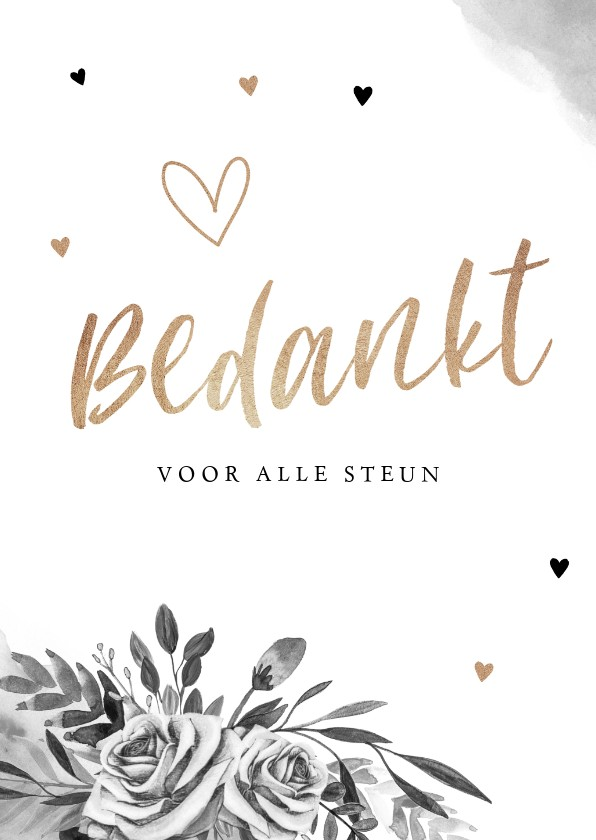 Rouwkaarten - Rouwkaart bedankkaart stijlvol bloemen zwart wit goud