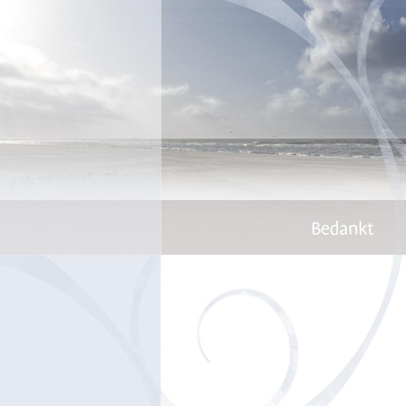 Rouwkaarten - Rouwkaart bedankt blauwe zee