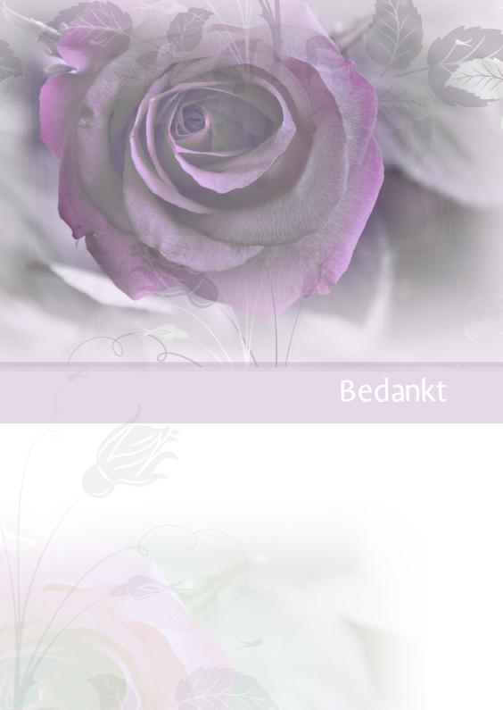 Rouwkaarten - rouwkaart bedankt roos